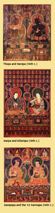 Tilopa and Naropa (16th c.) & Marpa and Milarepa (16th c.) & Gampopa and the 1st Karmapa (16th c.)